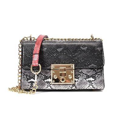 09fa1a2645cb Amazon.com: Snakeskin patte bag women messenger bags crossbody ...