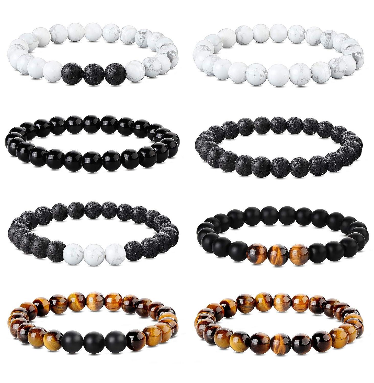 Udalyn 8 Pcs 8mm Bead Bracelets for Men Women Yoga Tiger Eye Bracelet Bangle Natural Stone Beaded Bracelets Stretch