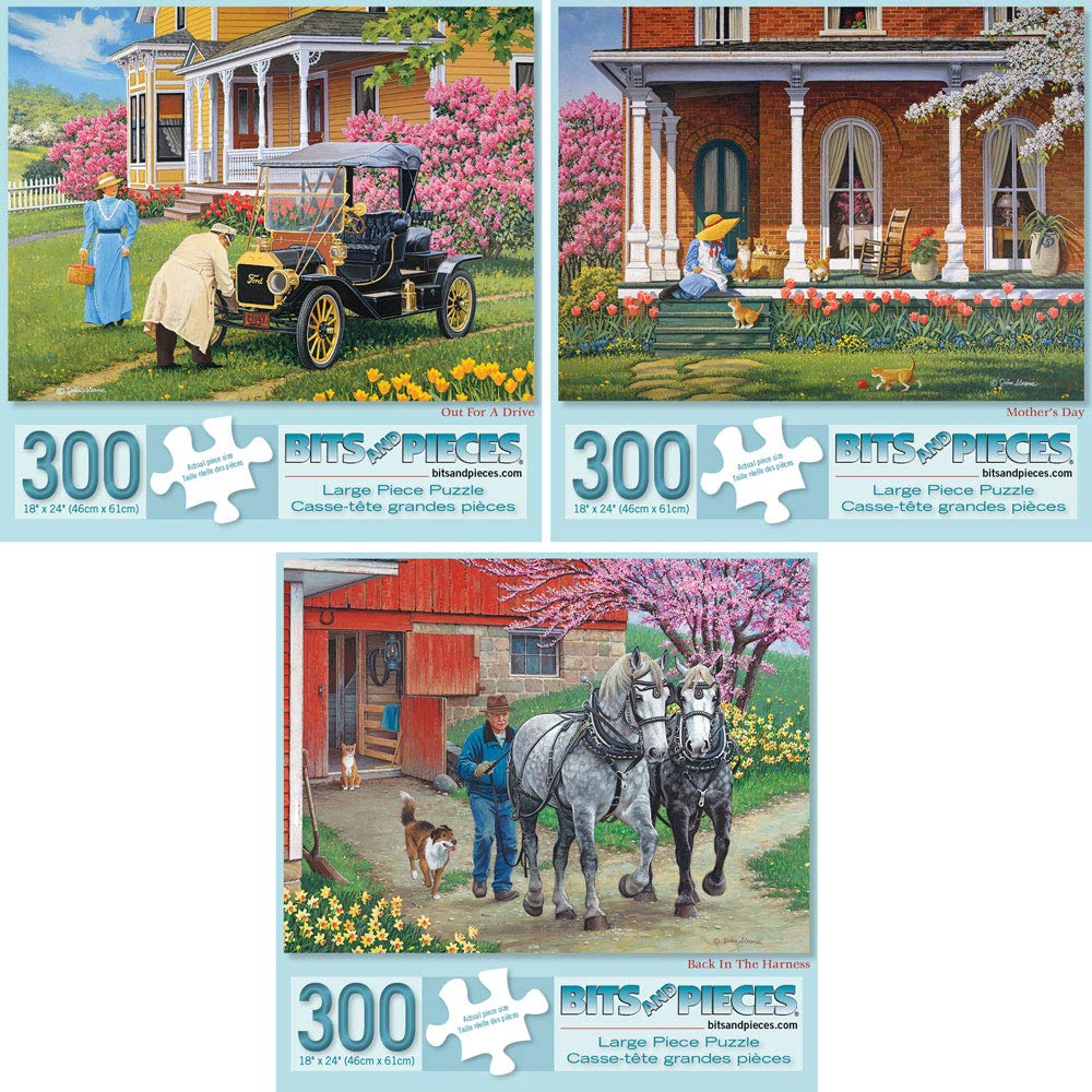 Bits and Pieces - Set of Three (3) 300 Piece Jigsaw Puzzles for Adults - Each Puzzle Measures 18'' X 24'' - 300 pc Spring Scenes Jigsaws by Artist John Sloane by Bits and Pieces