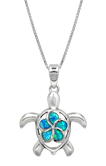 Amazon sterling silver turtle necklace pendant with simulated sterling silver turtle necklace pendant with simulated blue opal flower 18quot mozeypictures Images