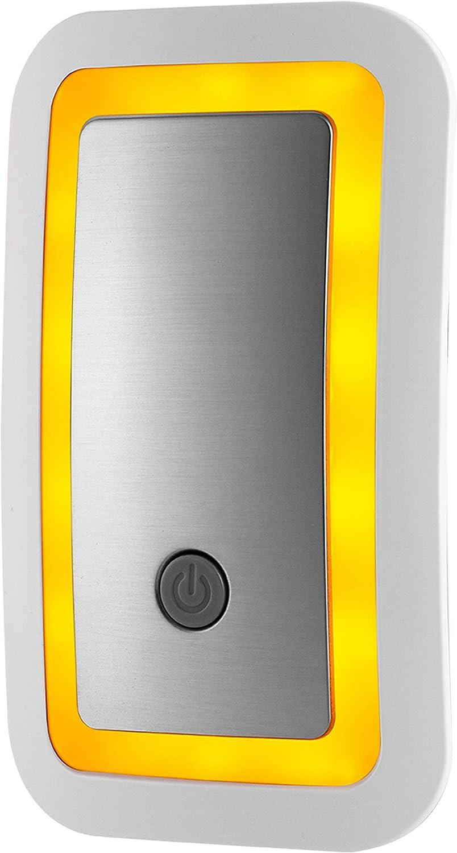 GE SleepLite LED Amber Night Light, Plug-in, Dusk-to-Dawn Sensor, High/Low, Melatonin, Natural Sleep, Ideal for Bedroom, Nursery, Bathroom, Brushed Nickel, 36244