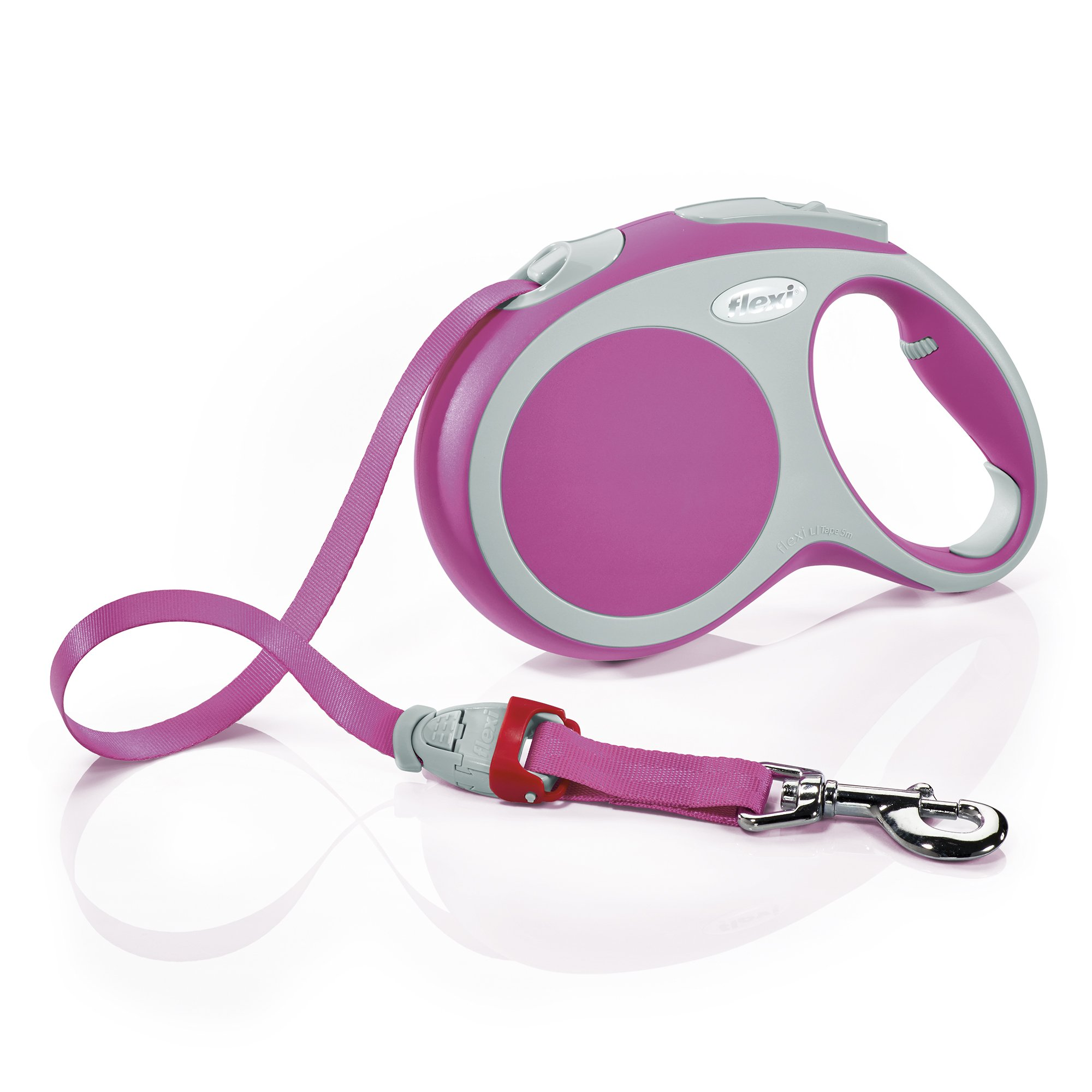 Flexi Vario Retractable Dog Leash (Tape), 16 ft, Large, Pink by Flexi