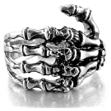 MunkiMix Stainless Steel Ring Band Silver Tone Black Skull Hand Bone Men