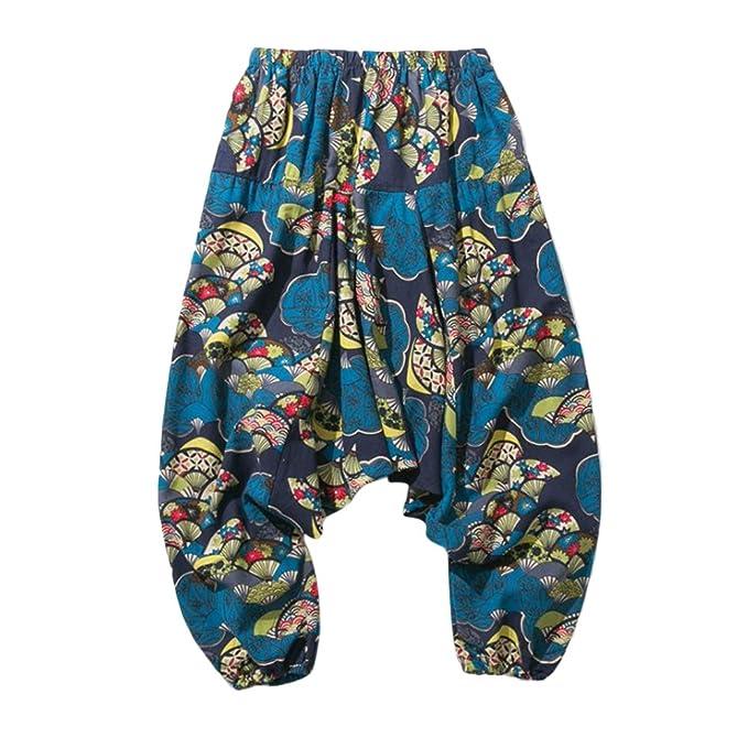 Zhhlinyuan Harén Pantalón Hombre y Mujer Ropa Hippie Pantalones Tailandeses Pantalones Yoga Harem Pants Aladdin Pants Baggy Wide Leg Yoga Harem ...