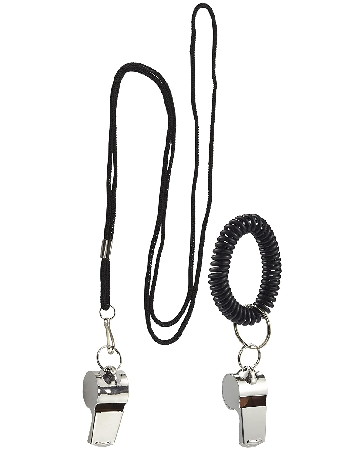 Juvale Coach Whistle - 2-Pack Stainless Steel Emergency Whistle Lanyard Spiral Bracelet, Referee Whistle School Sports, Training, 4.8 x 2 x 0.2 Inches