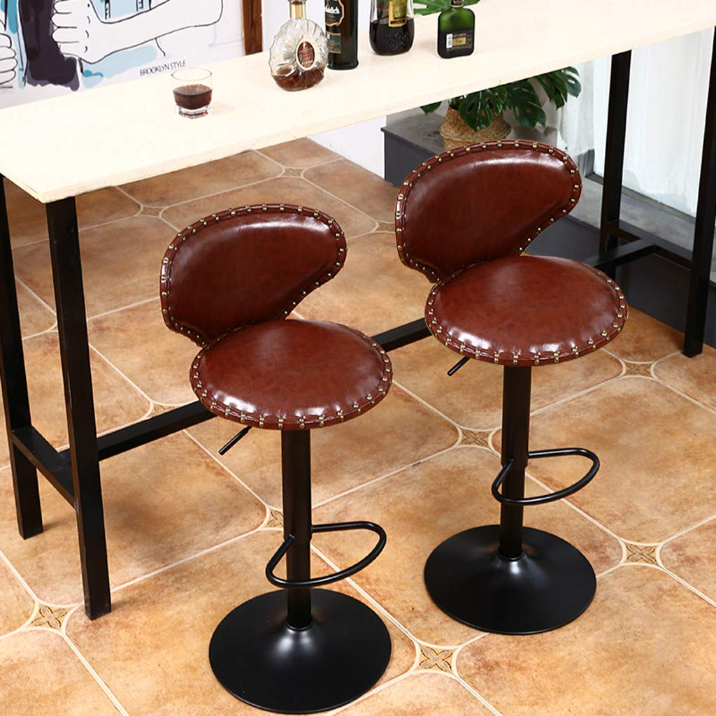 Flurries  Set of 2 Modern PU Leather Adjustable Bar Stools - Swivel Island Barstool Padded Chairs with Shell Back - Counter Height Hydraulic Armless for Pub Kitchen (Brown)