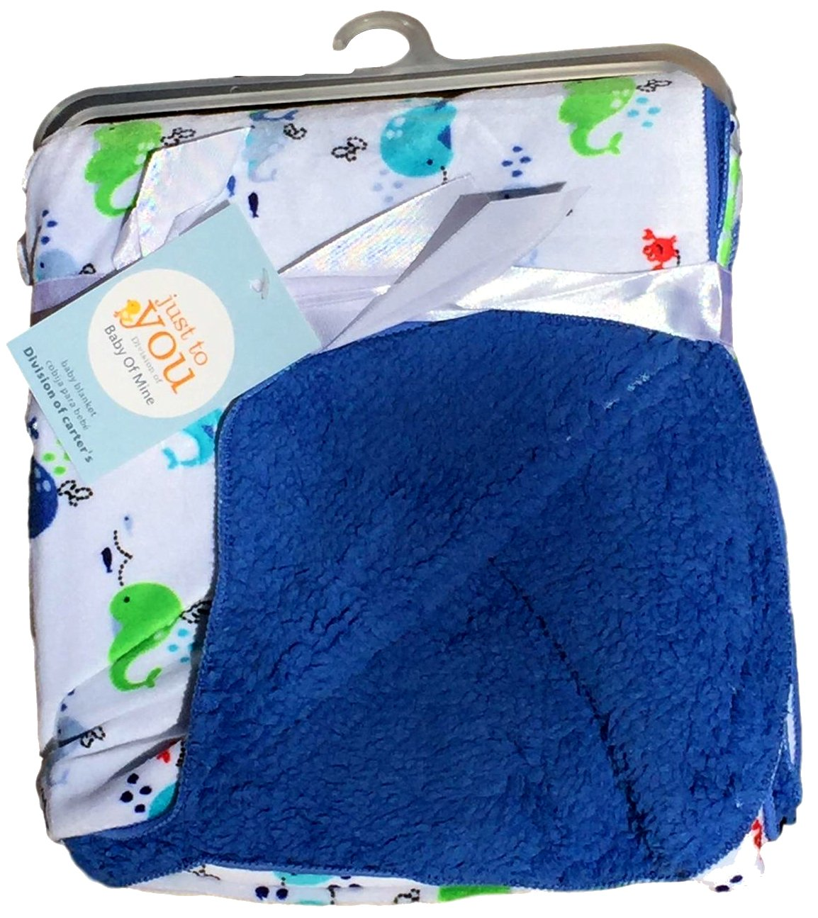 Baby Blankets For Boys, Warm and Cozy, Extra Soft Micro Plush Fleece Blanket, Anti-Pilling, Sherpa Backing (Whales)