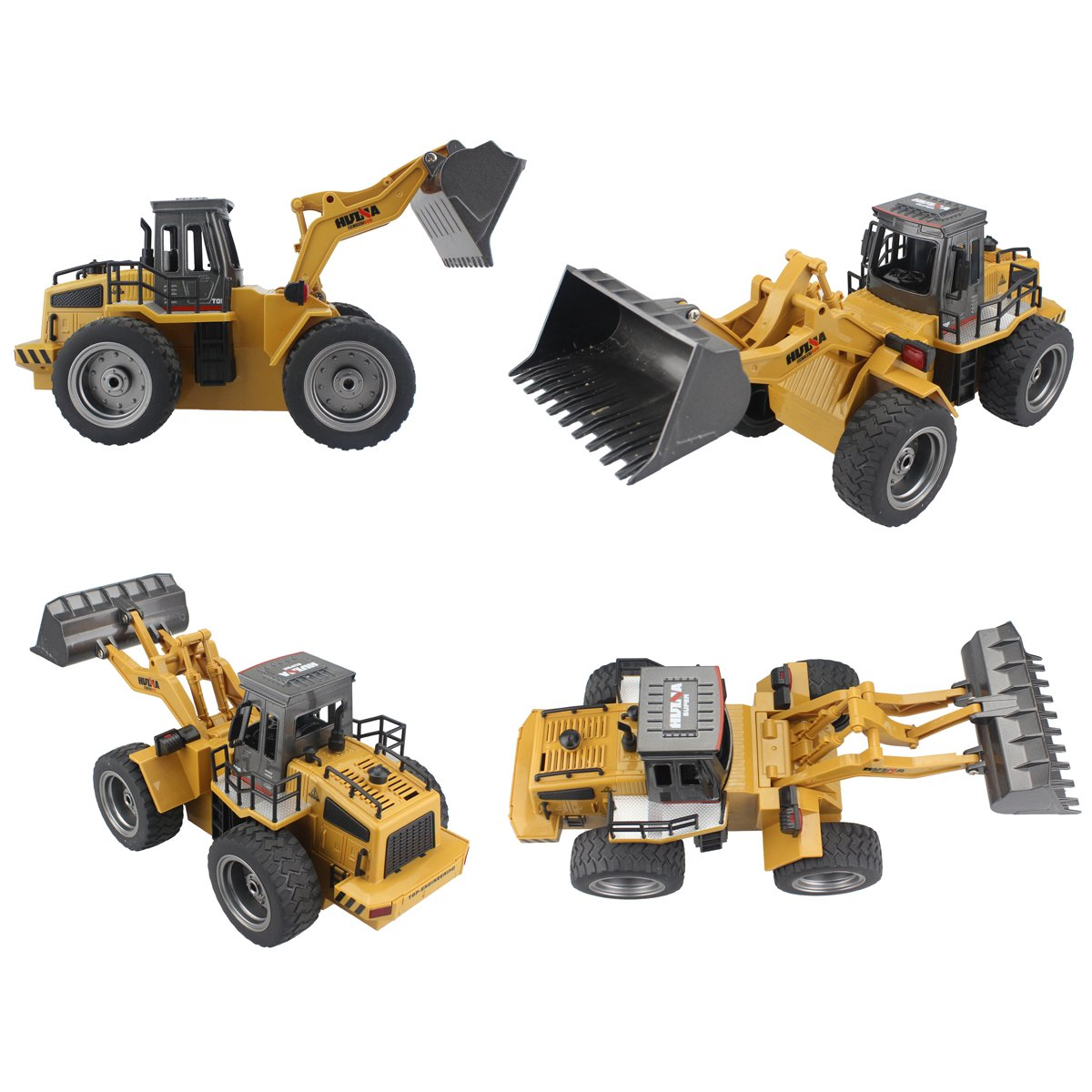 Fistone RC Truck Alloy Shovel Loader Tractor 2.4G Radio Control 4 Wheel Bulldozer 4WD Front Loader Construction Vehicle Electronic Toys Game Hobby Model with Light and Sounds by Fistone (Image #2)
