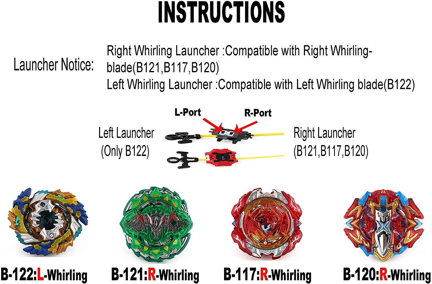 CHENGKETOYS XD168-11 Beyblades Burst Battle Top Spinning Set 4X Burst Gyro (B-117, B-120, B-121, B-122) with 4D Launchers and Arena Included by CHENGKETOYS