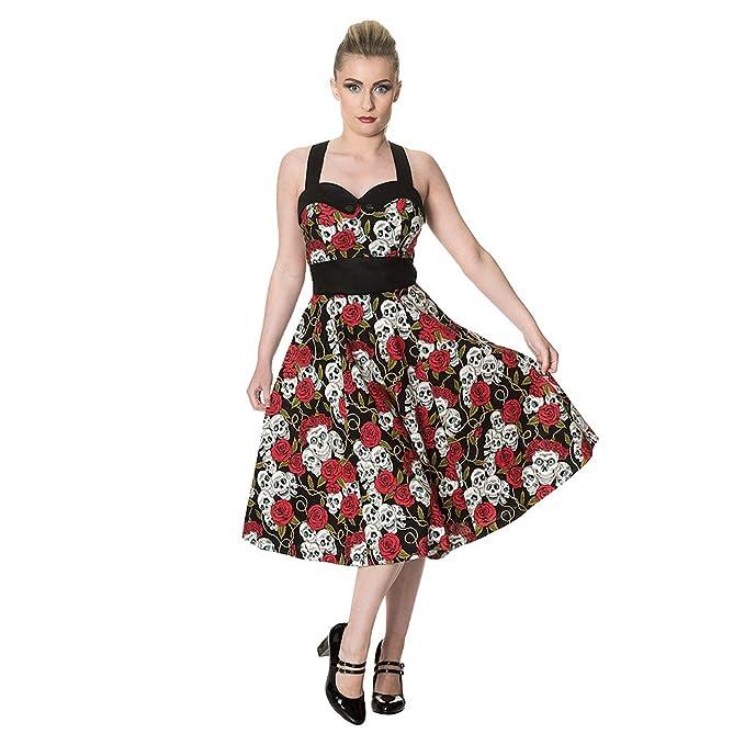 Vestido color negro con diseño de calavera y rosas rojas pin-up y satén estilo