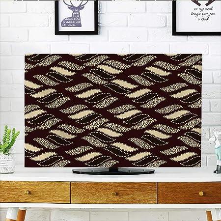 Auraisehome Proteger su televisor de diseño Antiguo Formas geométricas simétricas Chevron Moderno Pantalla Negro Blanco Proteger su TV W19 x H30 Pulgadas/TV 32 ...