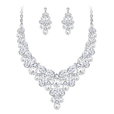 sélectionner pour véritable Royaume-Uni Style classique Clearine Femme Parure Bijoux Mariage Collier Plastron Boucles d'oreilles  Cristal en Grappe Elégant Fantaisie
