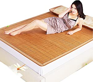 Summer Sleeping mat, 3-Piece Bamboo mat King mat Double-Sided Folding Air Conditioning mat Queen-A 150x195cm(59x77inch)