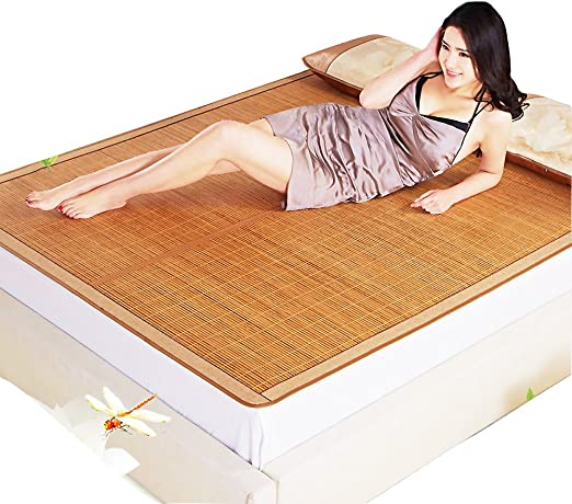 Size : 0.8x1.95m 3 Sizes ZHAOHUI Bamboo Summer Sleeping Mat Rattan Baby Pad Soft Straw Mat Breathable Foldable Bedroom