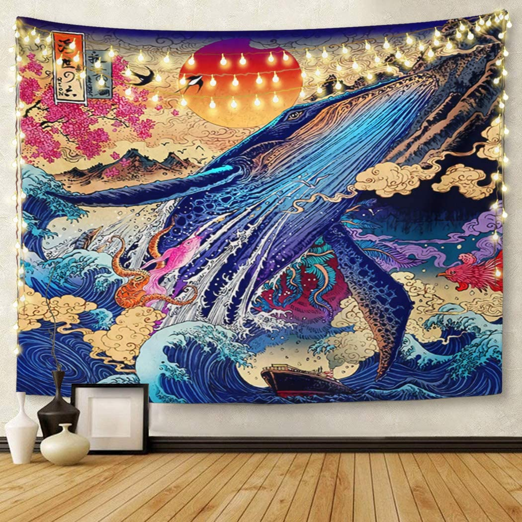 Britimes Tapestry Wall Hanging Japanese Ukiyo-e Sea Wave Koi Trippy Whale Japanese Sunset Animal Tapestry for Bedroom Living Room Dorm Decor Home Decoration Art