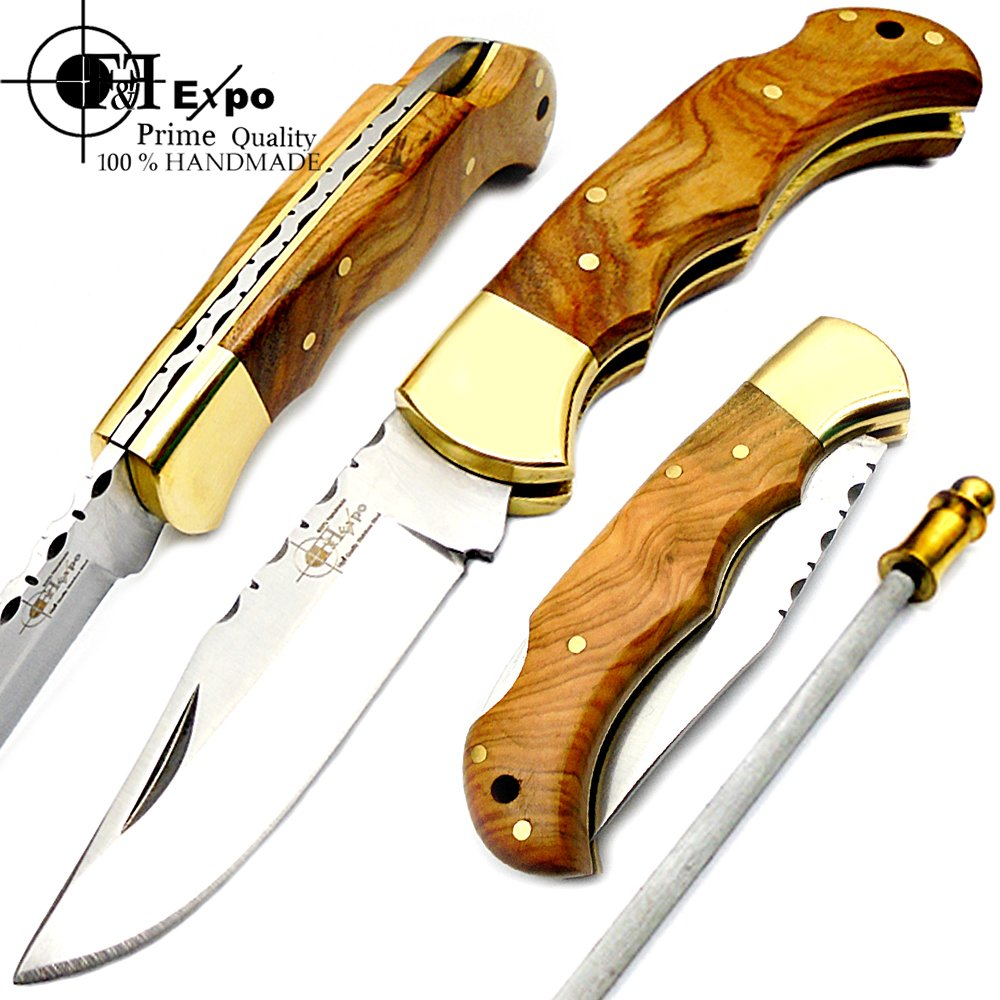 F f Expo Olive Wood 6.5 Handmade Stainless Steel Folding Pocket Knife Brass Bloster with Back Lock 100