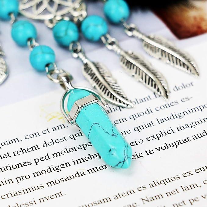 Buorsa Natural Opal Stone Dreamcatcher Keyring Feather Keychain Dream Catcher Keyring for Women Purse Pendant Handbag Keyholder Bag Charm