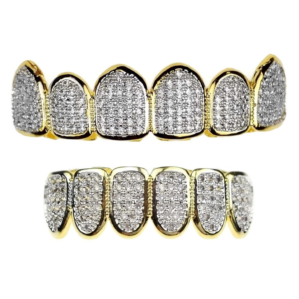 Premium CZ Grillz Set 2-Tone 14K Gold Plated with Silver Finish Bling Cubic Zirconia Teeth Hip Hop Grills by Bling Cartel