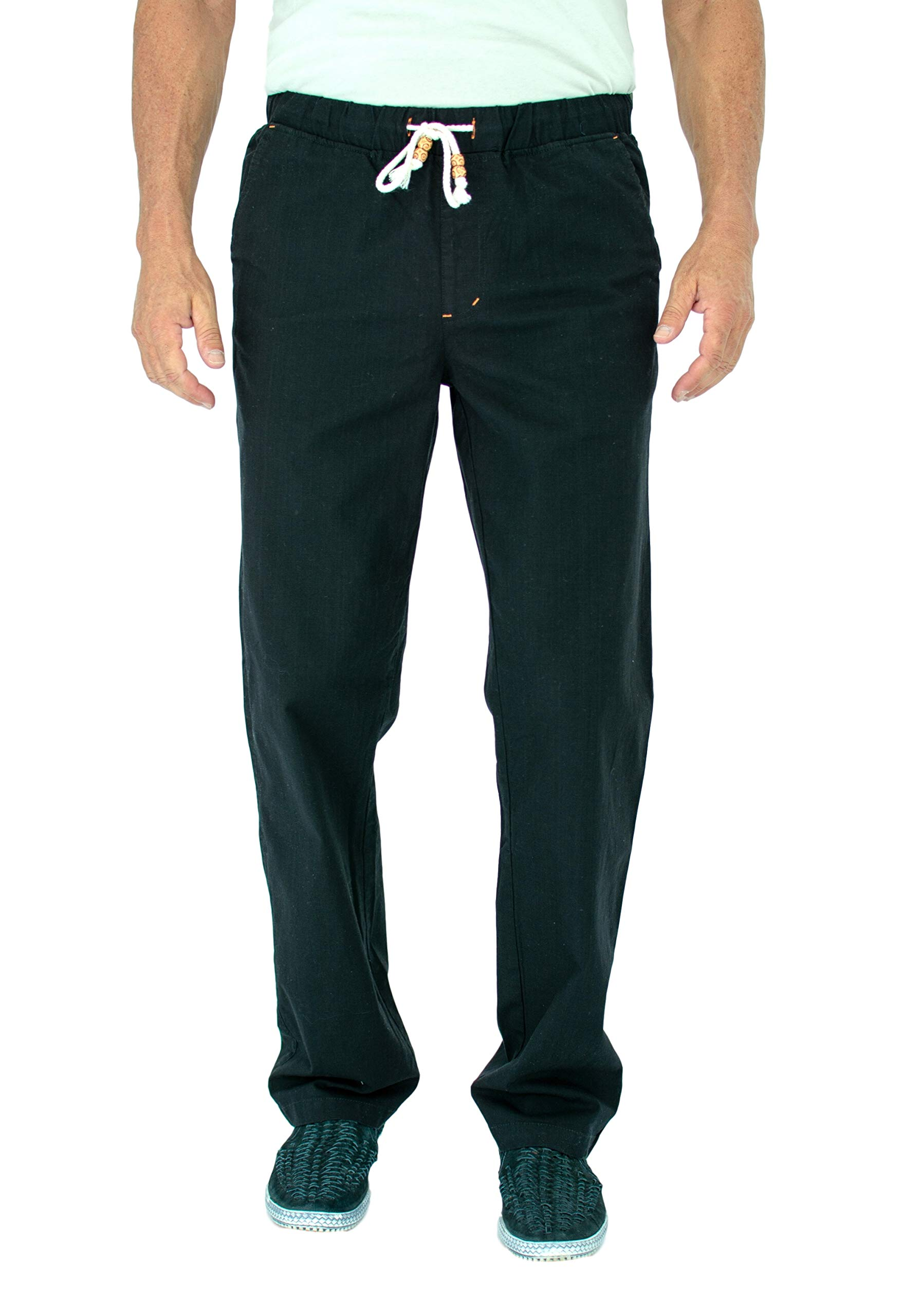 Short Fin Mens Beach Pants W/Full Elastic Waistband. Made with Stretch Cotton (Black Size 34X30 C8023)