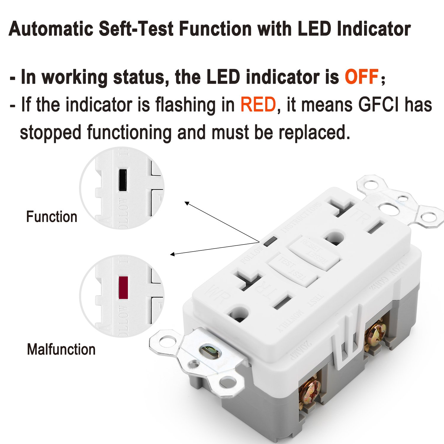 2 Pack Bestten 20a Outdoor Weather Resistant Gfci Outlet Tamer Gfi 15 20 Amp Tamper Tr Receptacle Pro Duplex Receptacles With Led Indicator Self Test Function Decorative Wall