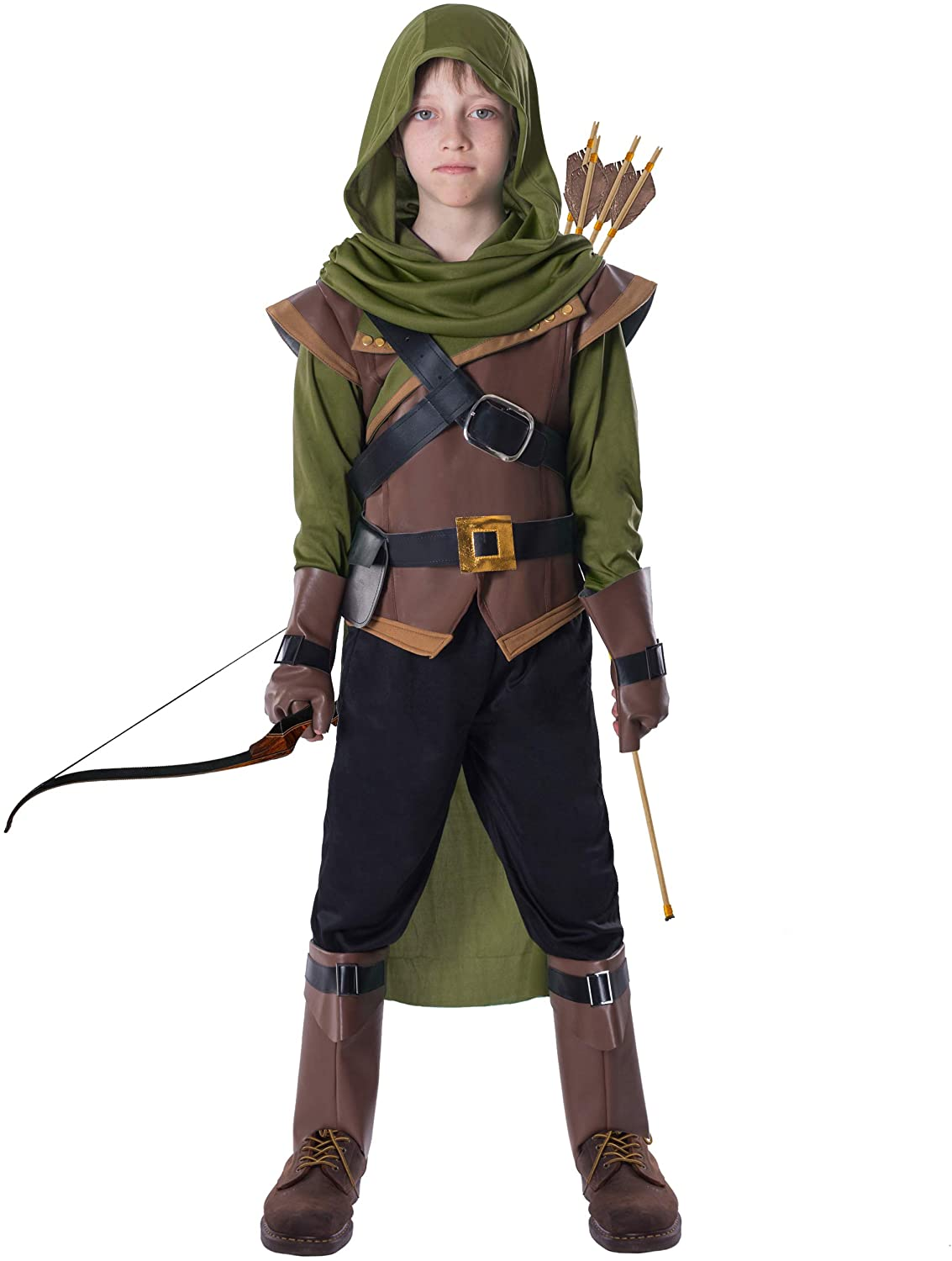 Renaissance Robin Hood Deluxe Kids Costume Set for Halloween Dress Up Party