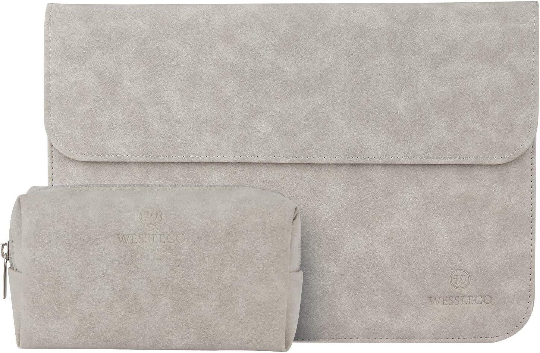 "Wessleco 13.3"" Laptop Sleeve Bag PU Case Compatible for MacBook Pro (2018 & 2017 & 2016) 13.3"" / MacBook Air 13.3""/ iPad Pro 12.9"" / Samsung Notebook 9 13.3"" 2018(Light Grey)"