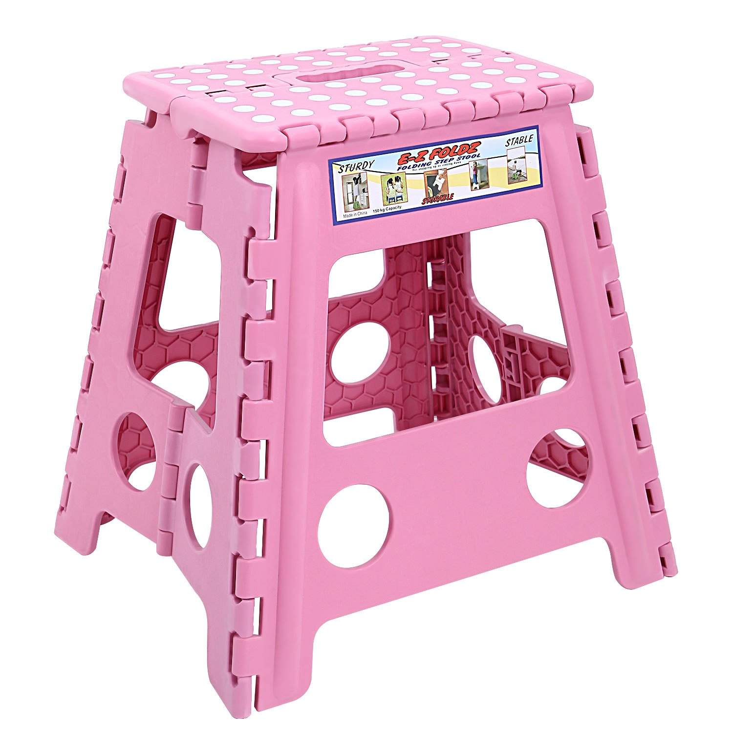 Maddott Super Strong Folding Step Stool for Adults and Kids,11x8.5x15inch, Holds up to 250 Lb, Pink