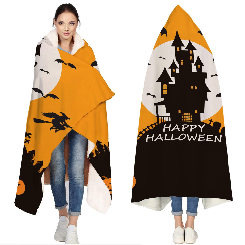 SUN-Shine Happy Halloween Sherpa Hooded Blanket, Wrap Soft Flannel Fleece Wearable Throw Hoodie Blankets for Kids Adults Girls Boys, Castle Pumpkin and Bats by SUN-Shine