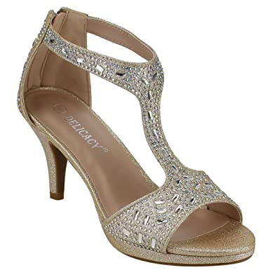 7c7ccede58d Forever Link Excited-95 Women's Glitter Rhinestone T-Strap Back Zipper  Wrapped Heel Sandals,Color:Champagne,Size:5