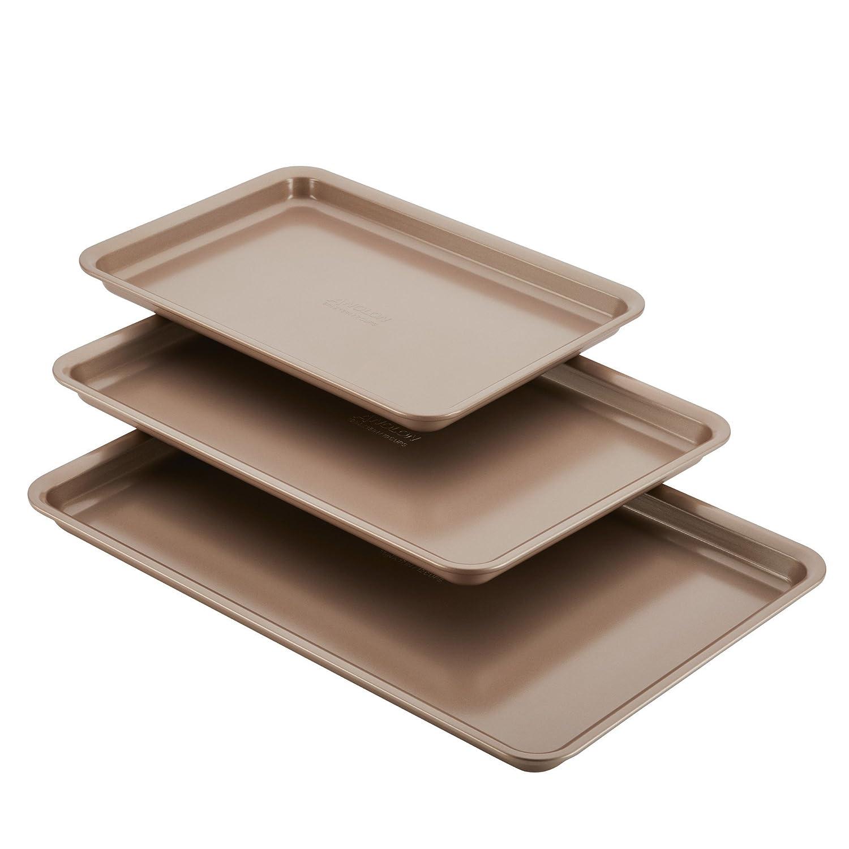 Anolon Nonstick Bakeware 3-Piece Cookie Pan Set, Bronze