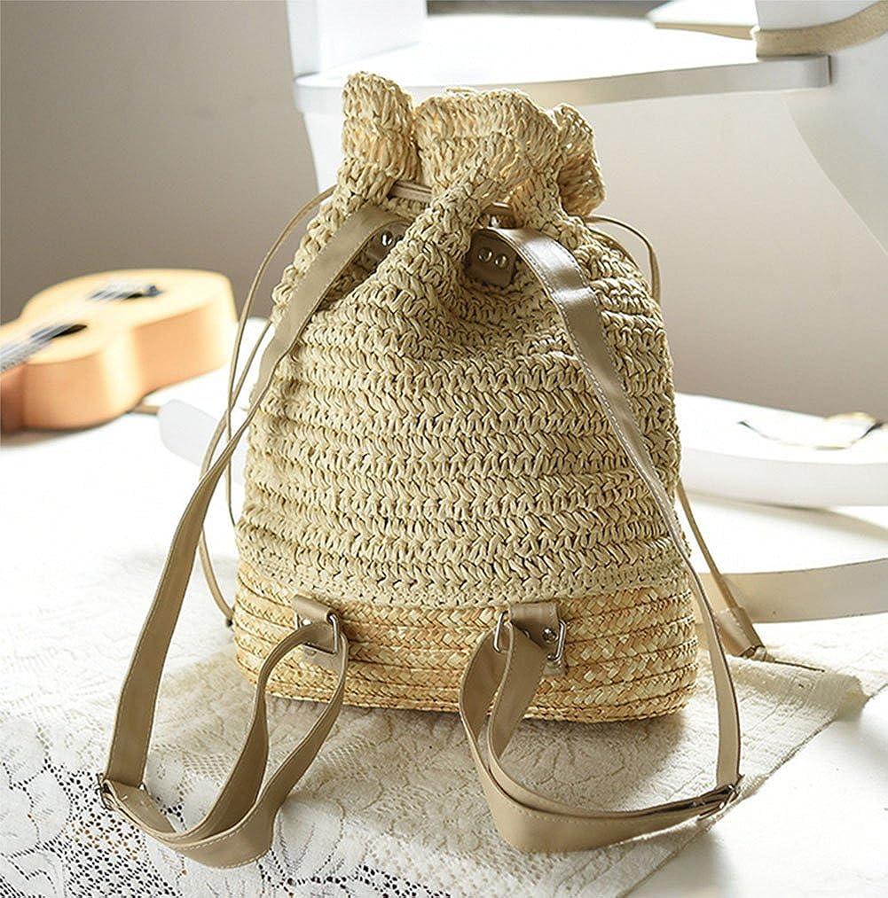 Freedi Women Straw Drawstring Backpack Fashion Shoulder Bag Beach Purse Boho Knitted Handbag