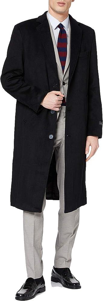 Selected Herren Woll Kaschmir Mantel Business Winter Warme Lange Jacke S Schwarz