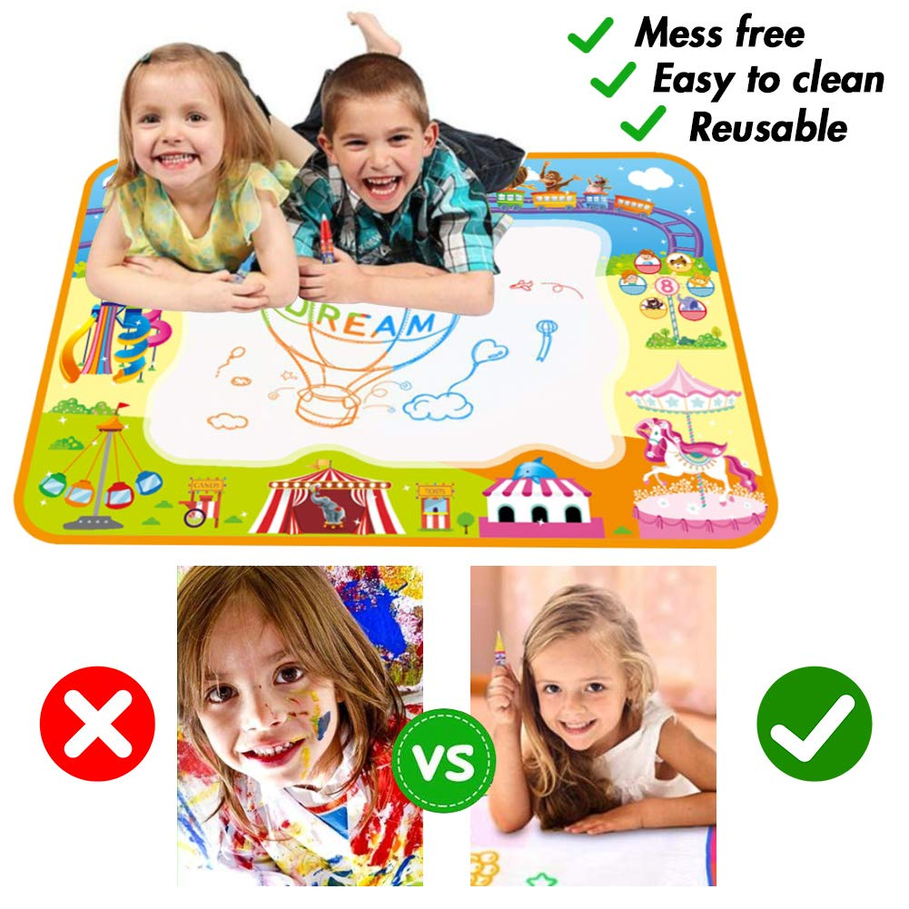 Aqua Magic Doodle Mat, 40X 28Inches Kids Painting Writing Doodle Board Toy Large Water Drawing Doodling Mat Coloring Mat Educational Toys, for Kids Toddlers Boys Girls Age 2-12 Year Old