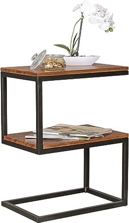 Finebuy Table D Appoint Bois Massif Metal Sheesham 45 X 60 X 30 Cm Table Basse Salon Bout De Canape Est Capacite De Charge Par Plaque 40 Kg