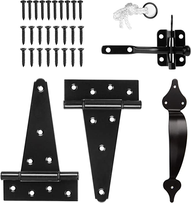 HILLMASTER Wooden Gate Hardware Set Kit with Self-Locking Gate Latch, 2 Pack 6in T-Starp Gate Hinges, Vintage Decorative Gate Door Pull Handle for Wooden Vinyl Fence, Black Finish