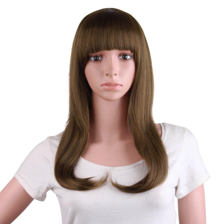 MapofBeauty 20 Inch/50cm Fashion Girl Natural Medium Length Curly Wigs Flat Bangs Wigs (Dark Brown)