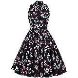 better-caress Vintage Dress Chiffon 1950s Dress Elegant Cherry Floral Print Knee Length Sleeveless Black