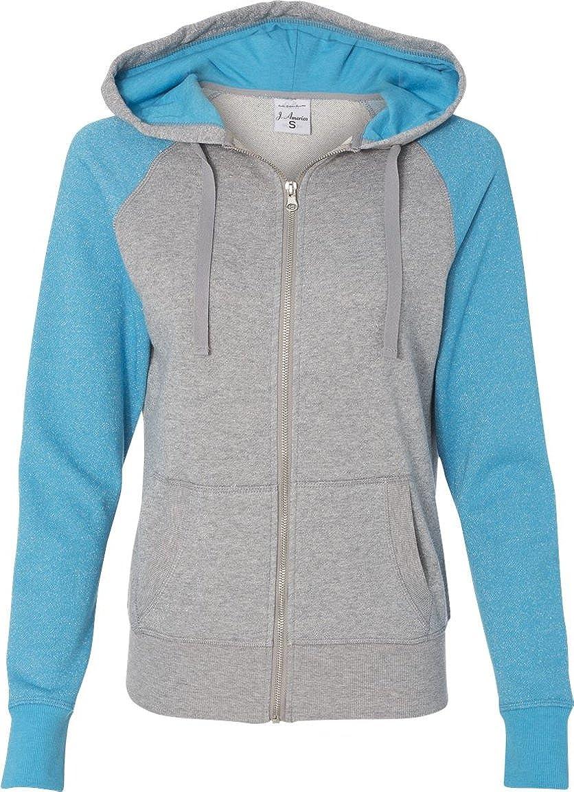 America Ladies Glitter Hooded Sweatshirt-8868-Medium-Oxford-MauiBlue J