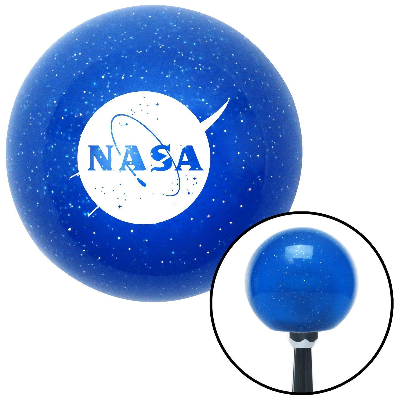 White NASA Logo Circle American Shifter 26593 Blue Metal Flake Shift Knob