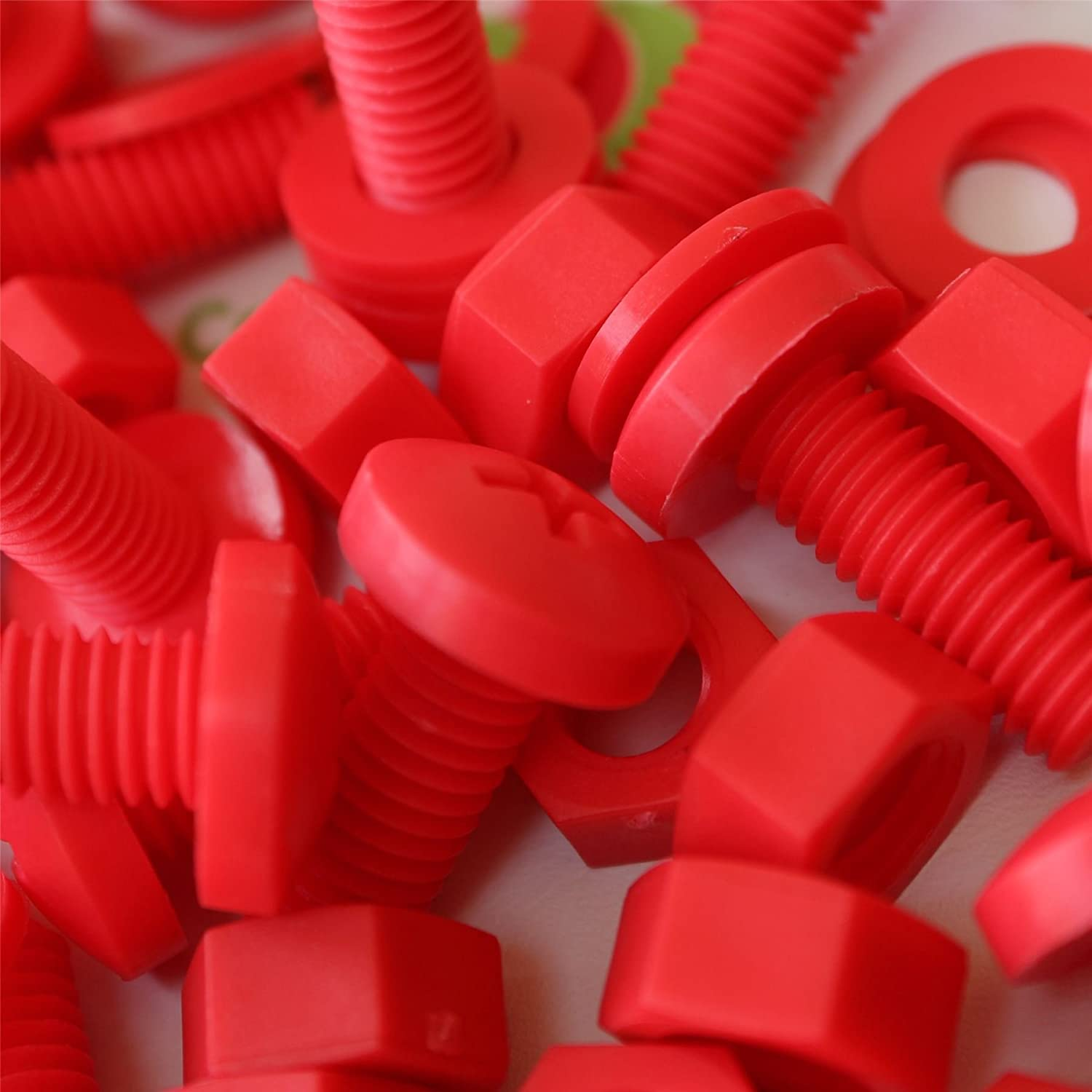 20 x Red Philips Pan Head Screws Polypropylene (PP) Plastic Nuts and Bolts, M8 x 20mm, Washers, Acrylic, Water Resistant, Anti-Corrosion, Chemical Resistant, Electrical Insulator, Strong. Caterpillar Red