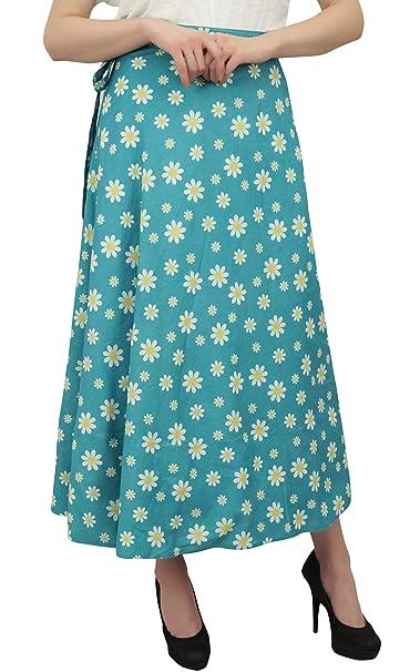 Phagun Impreso Floral Indio Desgaste Reversible Azul Turquesa Falda del Abrigo de algodón: Amazon.es: Ropa y accesorios