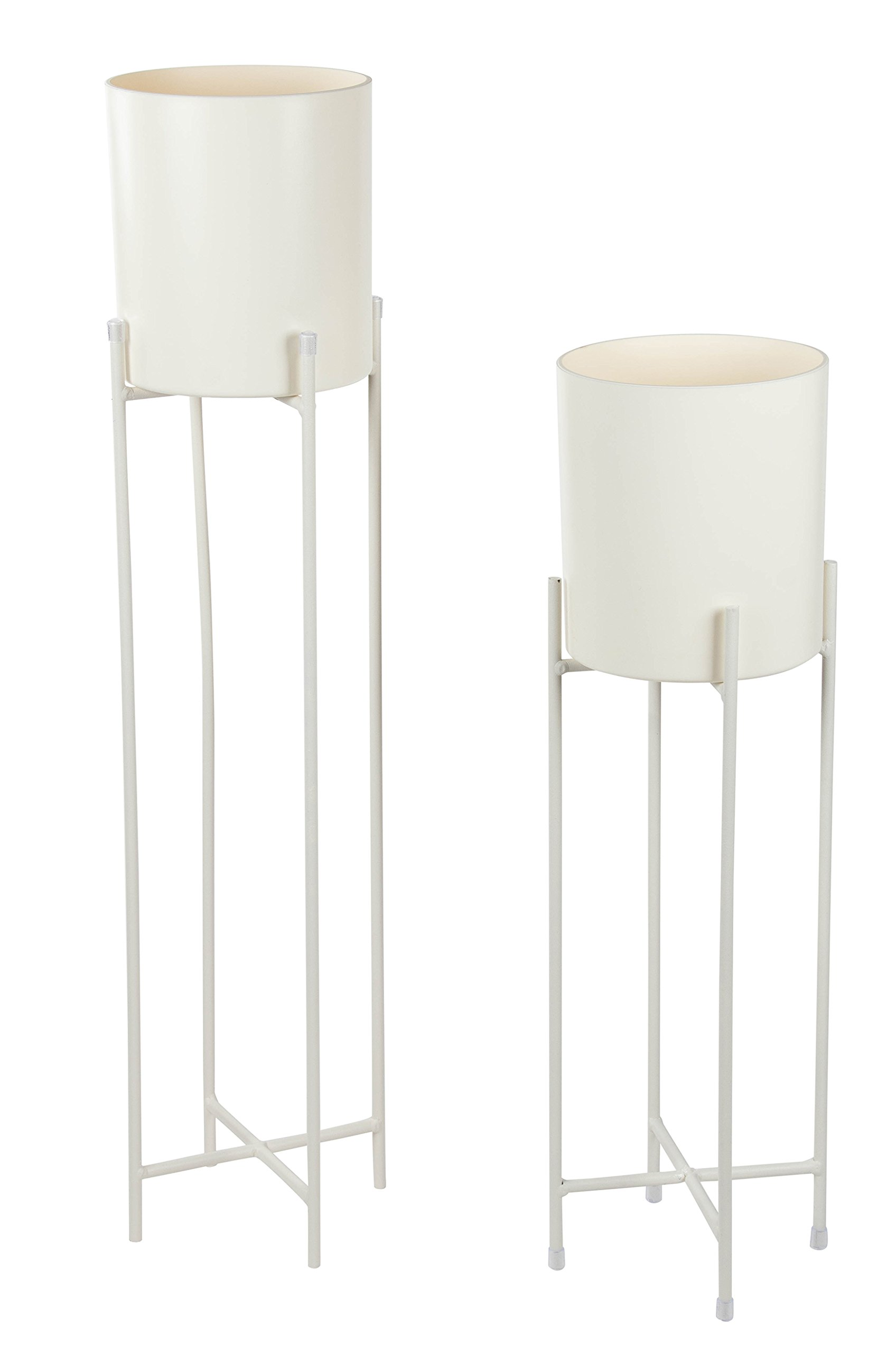 Plant Stand Set - 2-Piece Modern Plastic Planter with Tall Metal Stand - Decorative Standing Flower Succulent Pot Holder, Indoor Outdoor Terrace Patio Home Decor - White, 29.3 and 23 inches Tall by Juvale