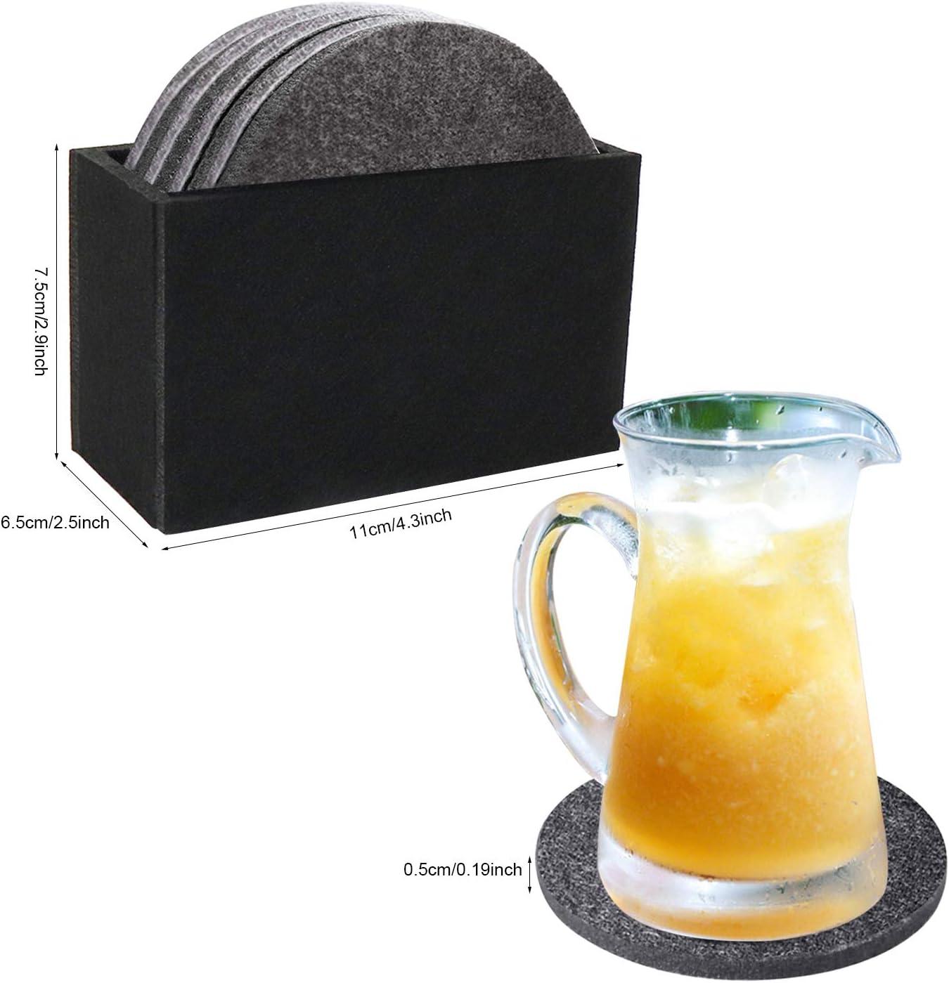 Filz Untersetzer rund Rutschfester Hitzebest/ändiger Abriebfester Waschbarer Filzuntersetzer 8 St/ück Filzunterlage f/ür Getr/änke Tassen Gl/äser Glas Tisch Bar