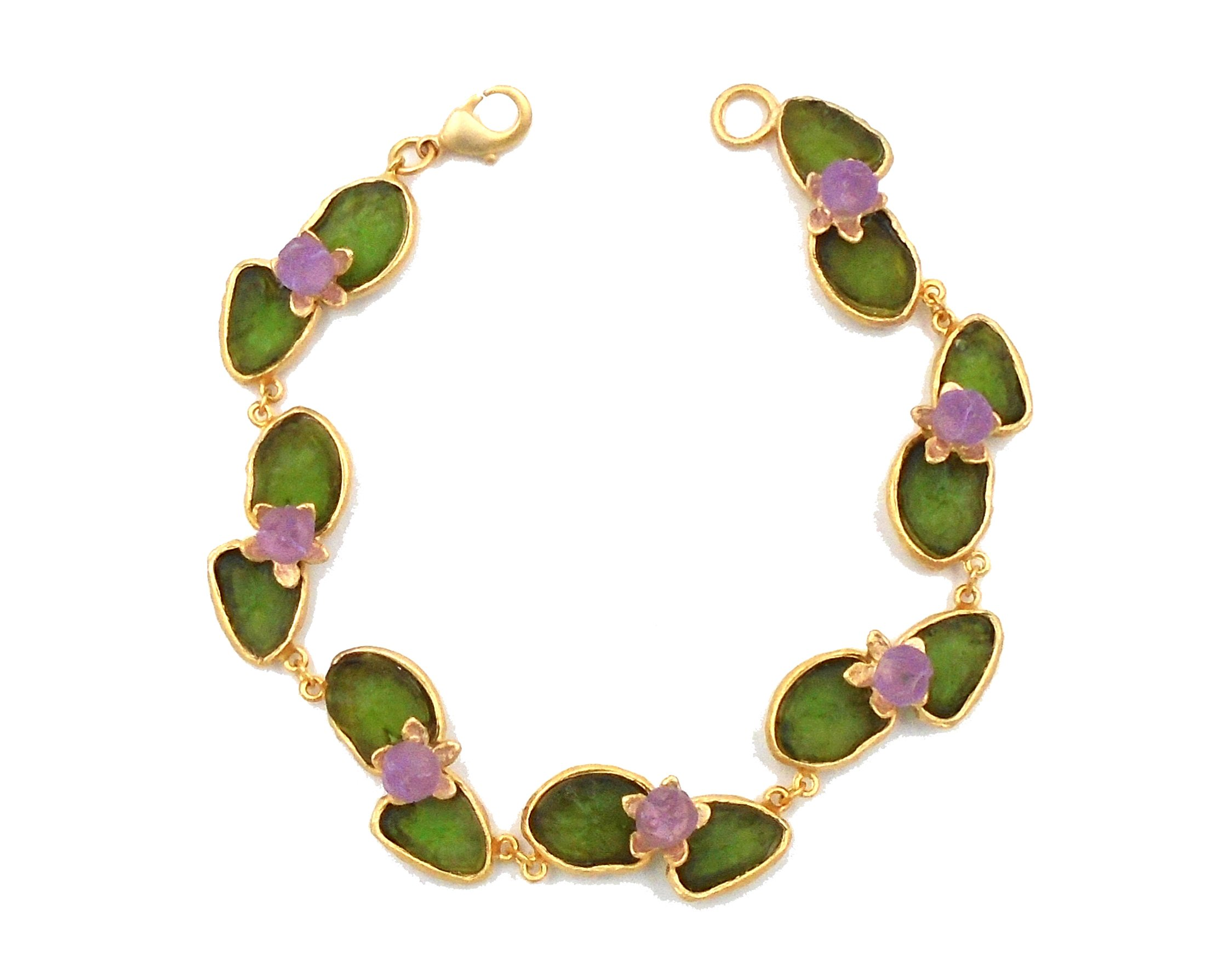Michael Vincent Michaud- Glass ''Water Lily Bracelet'' in Green/ Lt. blue by Michael Vincent Michaud