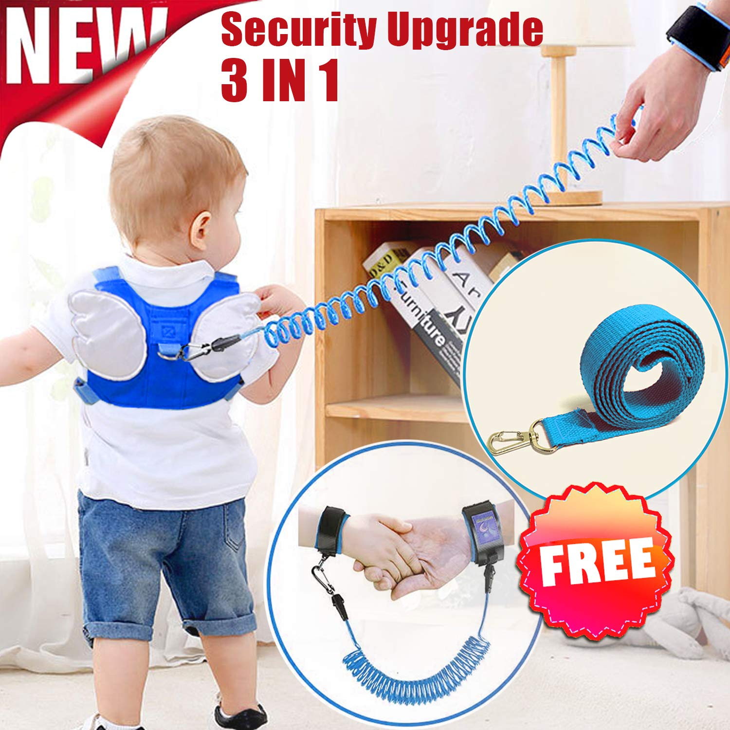 Kids Harness,Toddler Safety Harness Leashes Anti-Lost Belt Safety Walking Leash for Age 1-8 Year Old Boy Girl Safety Anti Lost Wrist Link for Toddlers Babies to Outdoor,Zoo,Mall,Hiking,Amusement Park