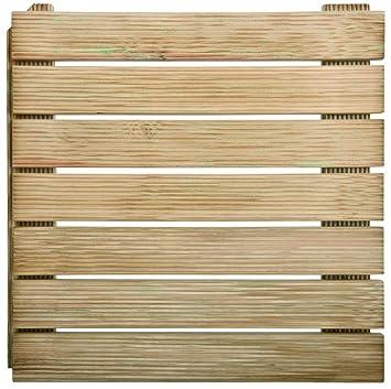 Dalle de terrasse en bois autobloquante 50: Amazon.fr: Jardin