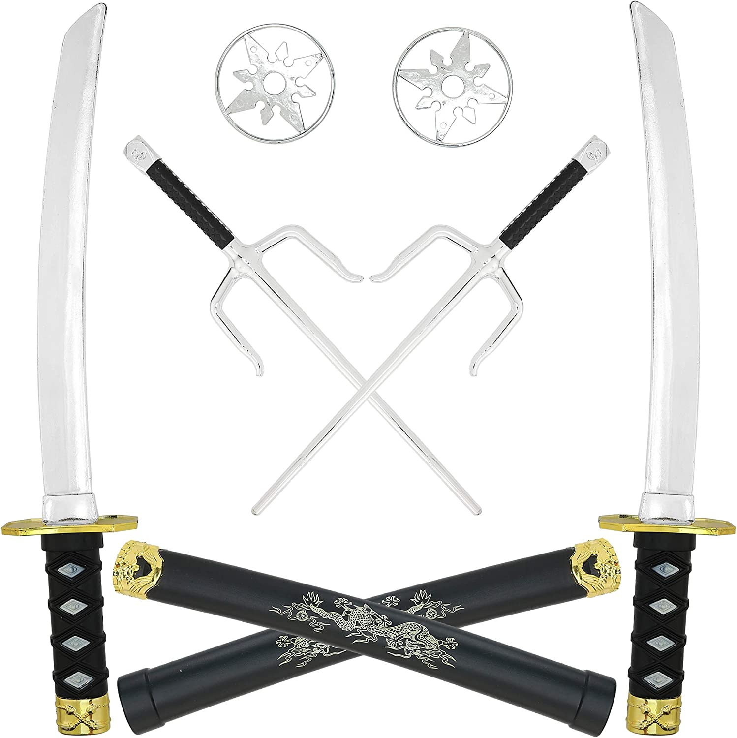Skeleteen Ninja Weapons Toy Set - Fighting Warrior Weapon Costume Set with Katana Swords, Sai Daggers, and Shuriken Stars - 6 Pieces