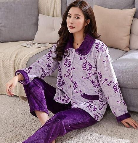 NHMDE Pijamas De Mujer Invierno,Moda Invierno Grueso Cálido ...