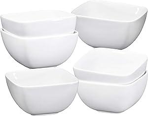 Bruntmor Large Porcelain Square Bowls - 26 Oz Durable Non-toxic Ceramic Bowls set of 6, Exceptional Multi-colored chip-resistant for Pasta, Berries, soup, Cereal Microwave Safe Appetizer Bowl