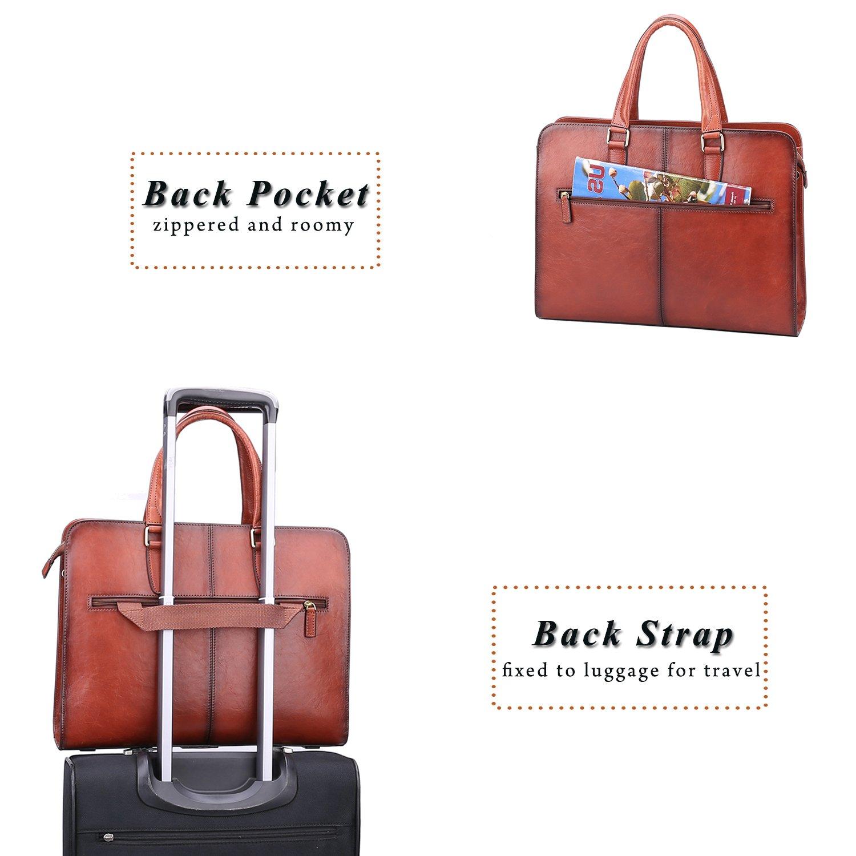 Banuce Vintage Full Grains Italian Leather Briefcase for Women Tote Handbag Attache Case 14 Inch Laptop Messenger Bag by Banuce (Image #5)